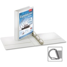"""Cardinal ExpressLoad ClearVue Lock D-Ring Binder - 1 1/2"""" Binder Capacity - D-Ring Fastener(s) - Internal Pocket(s) - Poly, Chipboard - White - Recycled - Damage Resistant, Locking Ring, Wear Resistant, Clear Overlay, Crack Resistant, Sturdy, Exposed Rivet, PVC-free, Non-stick, Non-glare - 12 / Carton"""
