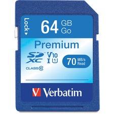 Verbatim 64GB Premium SDXC Memory Card, UHS-I Class 10 - Class 10/UHS-I (U1) - 90 MB/s Read1 Pack - 300x Memory Speed