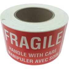 """Spicers Paper Multipurpose Label - """"Fragile - Handle with Care""""5"""" Width x 3"""" Length - Rectangle - Red, White - 500 / Roll - 500 Total Label(s) - 500 / Roll"""