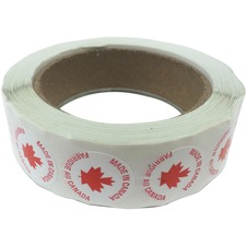 """Spicers Paper Multipurpose Label - """"Made in Canada"""" - 1"""" Diameter - Round - Red, White - 500 / Roll - 500 Total Label(s) - 500 / Roll"""