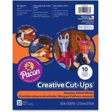 PAC 1000086 Pacon Creative Cut-ups Animal Masks Project PAC1000086