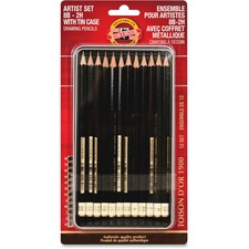 KOH FA15021112BC Koh-I-Noor 8B-2H Drawing Pencils Artist Set KOHFA15021112BC