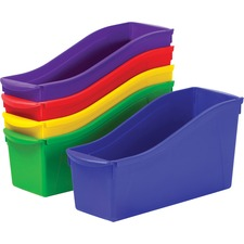 "Storex Book Bin Set - 1 Compartment(s) - 12.6"" Height x 5.3"" Width x 14.3"" Depth - 50% - Red, Green, Blue, Purple, Yellow - Plastic"