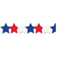 """Hygloss Patriotic Stars Border Strips - 12 Patriotic Stars - Damage Resistant, Durable, Long Lasting - 36"""" Height x 3"""" Width - Assorted - 12 / Pack"""