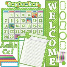 TCR 9586 Teacher Created Res. Lime/Dots Accents Board Set TCR9586