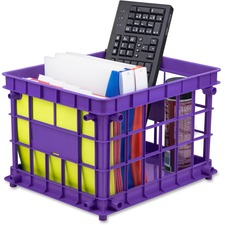 """Storex Storage Crate - External Dimensions: 14.3"""" Width x 17.3"""" Depth x 11.2"""" Height - Stackable - R"""