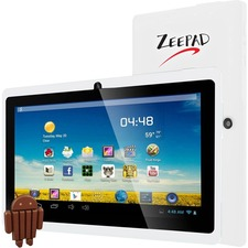 "Zeepad 7DRK-Q Tablet - 7"" - 512 MB DDR3 SDRAM - Allwinner Cortex A7 A33 Quad-core (4 Core) 1.80 GHz - 4 GB - Android 4.4 KitKat - 800 x 480 - White"