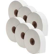"Genuine Joe Jumbo Jr Dispenser Bath Tissue Roll - 2 Ply - 3.5"" x 2000 ft - White - Fiber - For Bathroom"