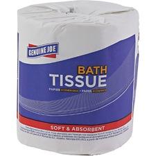 "Genuine Joe 2-ply Bath Tissue - 2 Ply - 4.5"" x 3"" - 500 Sheets/Roll - White - Fiber - For Bathroom - 96 / Carton"