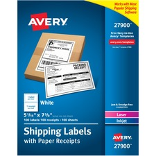 AVE27900 - Avery® Bulk Shipping Labels with Paper Receipt