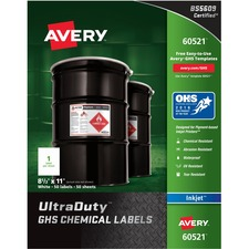 AVE 60521 Avery GHS Chemical Container Labels AVE60521