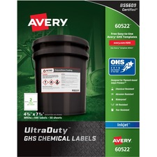 AVE 60522 Avery GHS Chemical Container Labels AVE60522