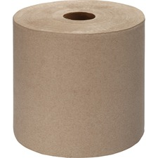 "Genuine Joe Embossed Hardwound Roll Towels - 7.9"" x 1000 ft - Kraft - Absorbent, Embossed, Designed - For Restroom - 6 / Carton"