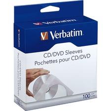 Verbatim CD/DVD Paper Sleeves with Clear Window - 100pk Box - Sleeve - Paper