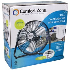 Comfort Zone CZHV12B 12-inch High Velocity Cradle Floor Fan, Black