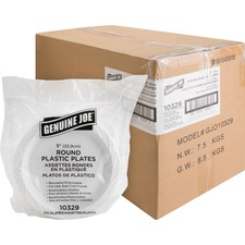Genuine Joe Reusable Plastic White Plates