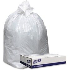 """Genuine Joe Extra Heavy-duty White Trash Can Liners - 38"""" (965.20 mm) Width x 58"""" (1473.20 mm) Length x 0.90 mil (23 Micron) Thickness - Low Density - White - Can, Waste Disposal"""
