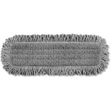 "Rubbermaid Commercial 18"" MF Pulse Dust Flat Mop - Bleach-safe, Hook & Loop Backing, Durable - 1 Each - Light Gray"