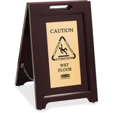RCP 1867507 Rubbermaid Comm. Brass Plaque Wooden Caution Sign RCP1867507