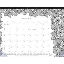 RED C2917001 Rediform Botanica Design Monthly Desk Pad REDC2917001