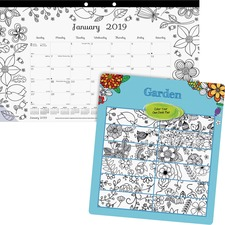 RED C2917003 Rediform Garden Design Monthly Desk Pad REDC2917003