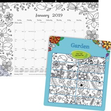 RED C2917313 Rediform Garden Design Monthly Desk Pad REDC2917313