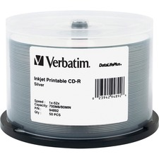 VER 94892 Verbatim Silver Inkjet Printable CD-R Spindle VER94892