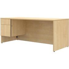 LAS4YF4272SAT - Lacasse Left Single Pedestal Bow Front Desk