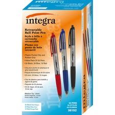 Integra 1.0mm Retractable Ballpoint Pen - Medium Pen Point - 1 mm Pen Point Size - Retractable - Assorted - 50 / Box