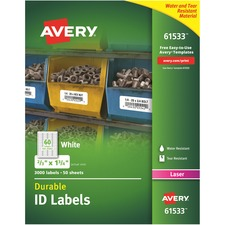 AVE61533 - Avery&reg Permanent Durable ID Labels with TrueBlock Technology