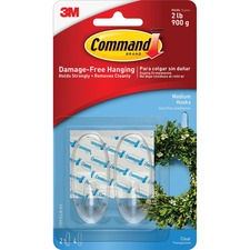 MMM 17091CLRES 3M Command Medium Strips Clear Hooks MMM17091CLRES