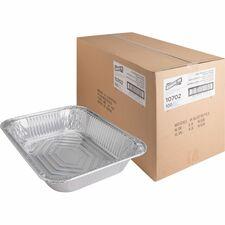 "Genuine Joe Half-size Disposable Aluminum Pan - 3.79 L 0.50"" (12.70 mm) Diameter Pan - Aluminum - Cooking, Serving - Disposable - Silver"