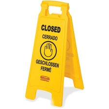 RCP 611278YWCT Rubbermaid Comm. Closed Multi-Lingual Floor Sign RCP611278YWCT