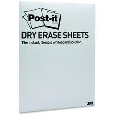 "Post-it® Dry Erase Sheets - 11"" (0.9 ft) Width x 15.4"" (1.3 ft) Length - White - Rectangle - Horizontal/Vertical - Desktop, Tabletop - 15 / Pack"