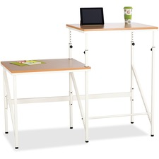 """Safco Bi-Level Stand/Sit Desk - Melamine Laminate Rectangle, Beech Top - Powder Coated, Cream Base - 57.5"""" Table Top Width x 24"""" Table Top Depth x 0.8"""" Table Top Thickness - 50"""" Height - Assembly Required - White"""