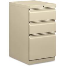 "HON Pedestal File, 20""D - 3-Drawer - 15"" x 20"" x 28"" - 3 x Box Drawer(s), File Drawer(s) - Single Pedestal - Square Edge - Material: Steel Frame - Finish: Putty"
