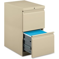 """HON Pedestal File, 20""""D - 2-Drawer - 20"""" x 15"""" x 28"""" - 2 x File Drawer(s) - Square Edge - Material: Steel Frame, Steel Ball Bearing - Finish: Putty"""