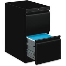 "HON Pedestal File, 20""D - 2-Drawer - 20"" x 15"" x 28"" - 2 x File Drawer(s) - Square Edge - Material: Steel Frame, Steel Ball Bearing - Finish: Black"