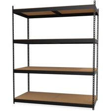 "Lorell Archival Shelving - 80 x Box - 4 Compartment(s) - 84"" Height x 69"" Width x 33"" Depth - 28% - Black - Steel, Particleboard - 1 Each"