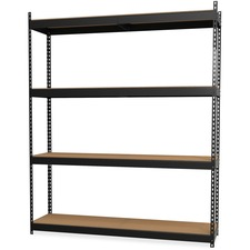 "Lorell Archival Shelving - 40 x Box - 4 Compartment(s) - 84"" Height x 69"" Width x 18"" Depth - 28% - Black - Steel, Particleboard - 1 Each"