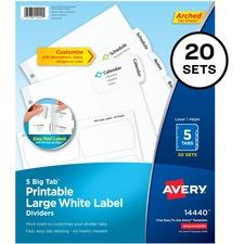 "Avery® Big Tab Tab Divider - 100 x Divider(s) - 5 - 5 Tab(s)/Set - 8.50"" Divider Width x 11"" Divider Length - 3 Hole Punched - White Paper Divider - White Paper Tab(s)"