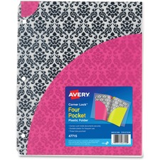 AVE47715 - Avery&reg Corner Lock Design Collection Four Pocket Plastic Folders