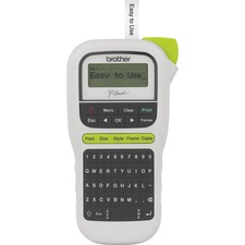 "Brother P-Touch 11 Handheld Label Maker - Thermal Transfer - 20 mm/s Mono - 3 Fonts - 180 dpi - Tape, Label - 0.14"" (3.50 mm), 0.24"" (6 mm), 0.35"" (9 mm), 0.47"" (12 mm) - Battery, Power Adapter - 6 Batteries Supported - AAA - Alkaline - Black, White - Han"