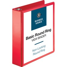 "Business Source Round Ring Binder - 2"" Binder Capacity - Round Ring Fastener(s) - 2 Internal Pocket(s) - Red - Clear Overlay, Labeling Area"