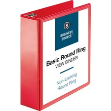 "Business Source Round Ring Binder - 3"" Binder Capacity - Round Ring Fastener(s) - 2 Internal Pocket(s) - Red - Clear Overlay, Labeling Area"