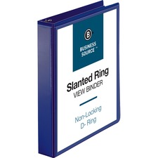 """Business Source D-Ring View Binder - 1 1/2"""" Binder Capacity - Slant D-Ring Fastener(s) - Internal Pocket(s) - Navy - Clear Overlay, Labeling Area, Lay Flat, Pocket"""
