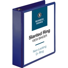 """Business Source D-Ring View Binder - 2"""" Binder Capacity - Slant D-Ring Fastener(s) - Internal Pocket(s) - Navy - Clear Overlay, Labeling Area, Lay Flat, Pocket"""