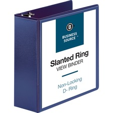 """Business Source D-Ring View Binder - 4"""" Binder Capacity - Slant D-Ring Fastener(s) - Internal Pocket(s) - Navy - Clear Overlay, Labeling Area, Lay Flat, Pocket"""