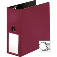 """Business Source 5"""" D-Ring Binder - 5"""" Binder Capacity - 1050 Sheet Capacity - Slant D-Ring Fastener(s) - Internal Pocket(s) - Burgundy - Transparent, Lay Flat, Label Holder, Spine - 1 Each"""