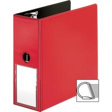 "Business Source 5"" D-Ring Binder - 5"" Binder Capacity - 1050 Sheet Capacity - Slant D-Ring Fastener(s) - Internal Pocket(s) - Red - Transparent, Lay Flat, Label Holder, Spine - 1 Each"